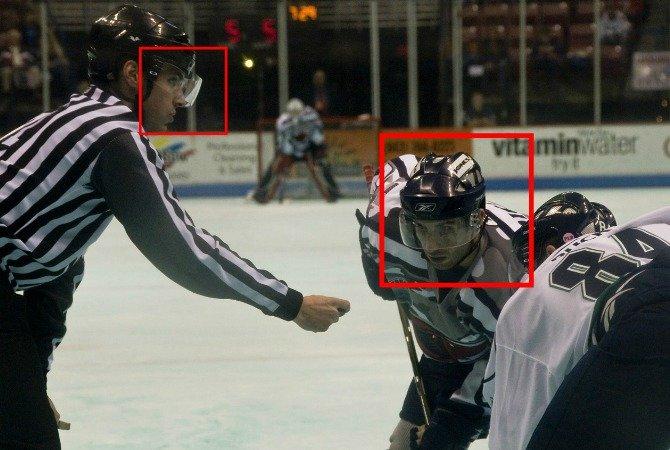 hockey helmet with polycarbonate shield