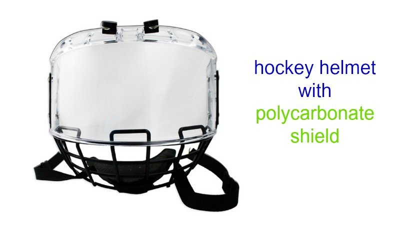 hockey helmet with polycarbonate shields
