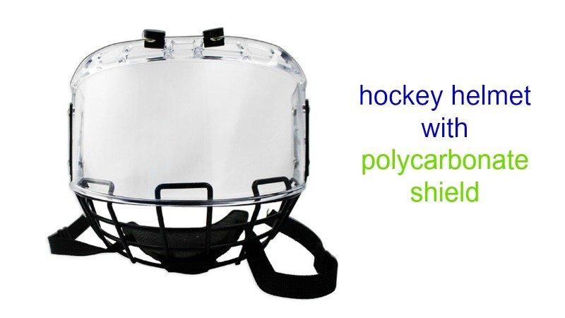 hockey helmet with polycarbonate shields