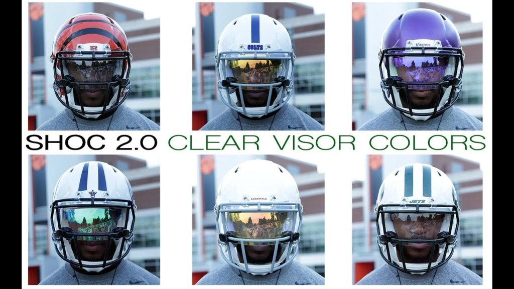 Different coating technologies on SHOC football helmet visors