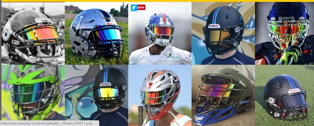 Different types of football helmet visors