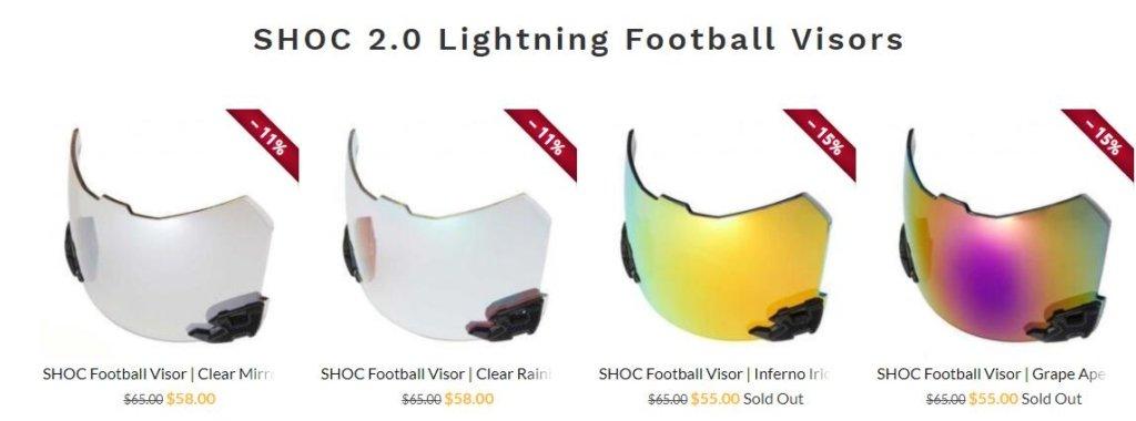 shoc football visor store