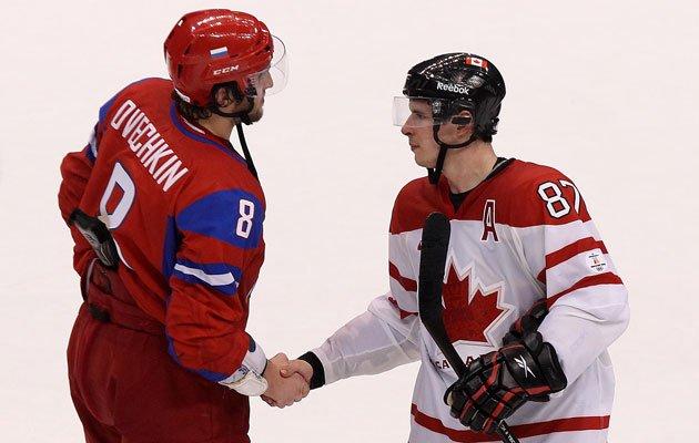 Hockey players shacking hands