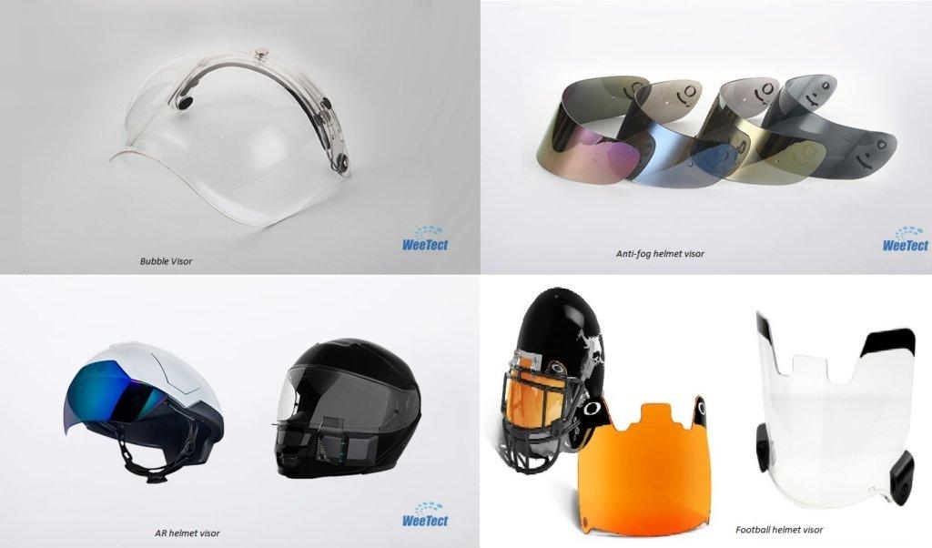 Different types of helmet visors