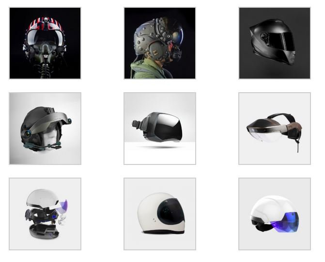 Different types of helmet visors with augmented reality technology